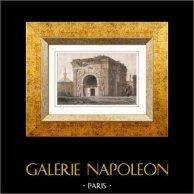 Veduta di Tripoli - Arco dell'Imperatore Marco Aurelio (Libia) | Incisione su acciaio originale. Anonima. Acquerellata a mano. 1848