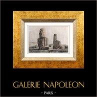 Antigo Egipto - Egito - Egiptologia - Necrópole - Colossos de Memnon (Egito) | Gravura em metal aço original desenhada por Cherubini. Aquarelada a mão. 1848