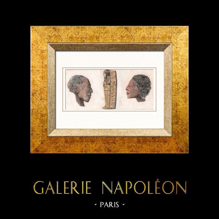 Gravures Anciennes & Dessins   Egypte Antique - Cercueil et têtes de momie (Egypte)   Taille-douce   1848