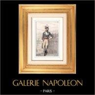 Portrait de Jean-Baptiste Kléber (1753-1800) - Général Français assassiné durant la Campagne d'Egypte | Gravure sur acier originale. Anonyme. Aquarellée à la main. 1848