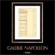 Dessin d'Architecte - Italie - Rome - Palais Farnèse - Palazzo Farnese (Antonio da Sangallo) | Gravure sur acier originale dessinée par Fournier. 1927