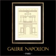 Dessin d'Architecte - Italie - Rome - Palais Farnèse - Palazzo Farnese (Antonio da Sangallo) | Gravure sur acier originale. Anonyme. 1927