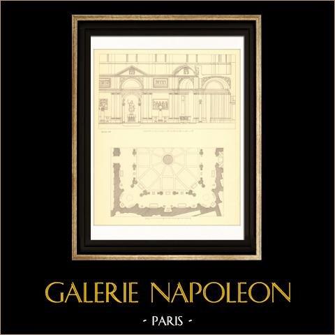 Dessin d'Architecte - Palais du Vatican - Palais Apostolique - Belvédère (Simonetti) | Gravure sur acier originale. Anonyme. 1927