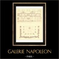 Architect's Drawing - Apostolic Palace - Papal Palace - Vatican - Belvedere (Simonetti) | Original steel engraving. Anonymous. 1927