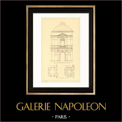 Dessin d'Architecte - Palais du Vatican - Palais Apostolique - Musée du Belvédère (Camporesi) | Gravure sur acier originale. Anonyme. 1927