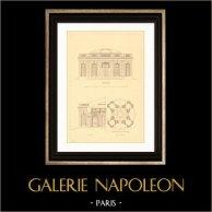 Dessin d'Architecte - France - Château de Versailles - Pavillon Français dans le Jardin du Petit Trianon (Gabriel) | Gravure sur acier originale. Anonyme. 1927
