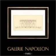 Dessin d'Architecte - France - Château de Versailles - Pavillon Français - Petit Trianon (Gabriel) | Gravure sur acier originale. Anonyme. 1927