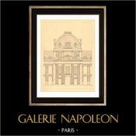 Dibujo de Arquitecto - Francia - Paris - Ecole Militaire - Escuela Militar (Gabriel) | Original acero grabado. Anónimo. 1927