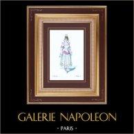 Costume da Teatro Francese - Monsieur Scapin - Commedia (Jean Richepin) - Suzette | Stampa originale disegnata da Eugène Mesplès. Acquerellata a mano. 1891