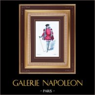 Costume du Théâtre Français - Patrie (Victorien Sardou) - Opéra - La Trémoille | Gravure originale dessinée par Eugène Mesplès. Aquarellée à la main. 1891