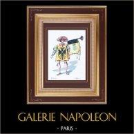 Costume du Théâtre Français - Patrie (Victorien Sardou) - Opéra - Musicien - Trompette - Bal   Gravure originale dessinée par Eugène Mesplès. Aquarellée à la main. 1891