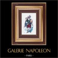 Traje de Teatro Francés - La Cigale Madrilène - Opera cómica (Léon Bernoux) - El Vizcaíno | Original grabado dibujado por Eugène Mesplès. Agua-coloreado a mano. 1891