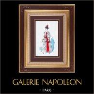 Costume du Théâtre Français - Oscarine (Ch. Nuitter et A. Guinon) - Opérette - Réginette | Gravure originale dessinée par Eugène Mesplès. Aquarellée à la main. 1891