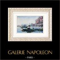 Vue de Venise - Gondole - Palais des Doges - Palais Ducal - Le Môle (Italie)