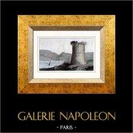 Lago de Capitello - Torre de Capitello - Córsega (França) | Gravura em metal aço original. Lemaitre direxit. Aquarelada a mão. 1847