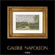 Vue du Parc de Saint Cloud et du Château (France) | Gravure sur bois originale dessinée par Daubigny, gravée par Peulot. Aquarellée à la main. 1865