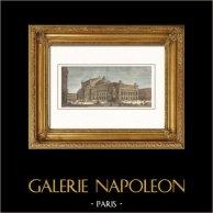 Vista de París - Ópera de París - Ópera Garnier - Palacio Garnier   Original grabado en madera (xilografía) dibujado por M. Thorigny, grabado por C. Maurand. Agua-coloreado a mano. 1865