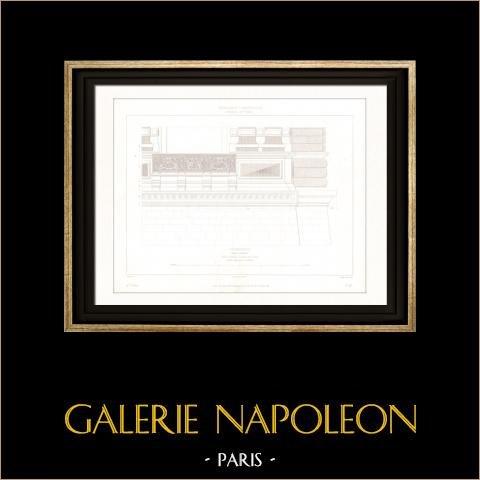 Dibujo de Arquitecto - Palacio del Louvre - Pavillon d'Apollon (Paris) | Original acero grabado dibujado por Roguet, grabado por Huguet. 1854