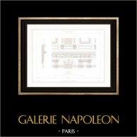 Dessin d'Architecte - Palais du Louvre (Paris) - Entablement  | Gravure sur acier originale dessinée par Roguet, gravée par Huguet. 1854