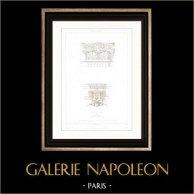 Architektenzeichnung - Louvre-Palast (Paris) - Kapitell | Original stahlstich gezeichnet von Roguet, gestochen von Sellier. 1854