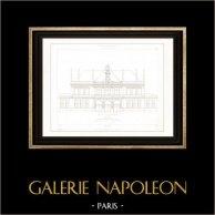 Disegno di Architetto - Municipio (XI Arrondissement di Parigi) - Facciata | Incisione su acciaio originale disegnata da Leblanc, incisa da Le Coq. 1854