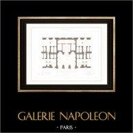 Disegno di Architetto - Palazzo di giustizia (Parigi) - Rampa | Incisione su acciaio originale disegnata da Roguet, incisa da Huguet. 1854