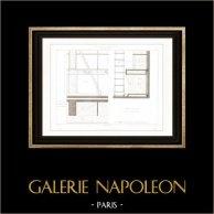 Drawing of Architect - Architecture - Interior of Store - Rue Pierre Sarrazin (Paris) - Woodworking