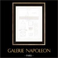 Drawing of Architect - Architecture - Interior of Store - Rue Pierre Sarrazin (Paris) - Goods lift