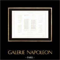 Disegno di Architetto - Portale - Falegnameria - Gobelins (Parigi) | Incisione su acciaio originale incisa da Le Coq. 1854