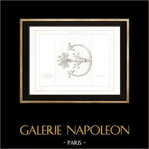 Dessin d'Architecte - Cathédrale Notre Dame de Paris - Sacristie - Ferronnerie (Paris) | Gravure sur acier originale dessinée par Viollet-Leduc, gravée par Sellier. 1854