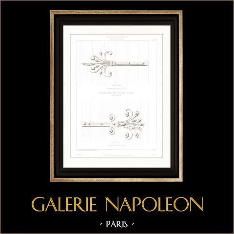 Dessin d'Architecte - Cathédrale Notre Dame de Paris - Sacristie - Ferronnerie (Paris) | Gravure sur acier originale dessinée par Adams / Viollet-Leduc, gravée par Sellier. 1854