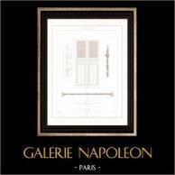 Dessin d'Architecte - Palais de Justice (Paris) - Porte vitrée | Gravure sur acier originale dessinée par Roguet, gravée par Le Coq. 1854