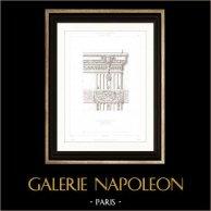 Dessin d'Architecte - Palais du Louvre (Paris) - Chapiteau - Pilastre - Sculpture