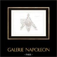 Dessin d'Architecte - Palais du Louvre - Pavillon d'Apollon (Paris) - Couronnement
