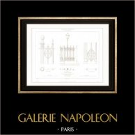 Dessin d'Architecte - Cirque d'hiver - Cirque Napoléon (Paris) - Clôture en fonte de fer | Gravure sur acier originale dessinée par Roguet. 1854