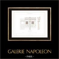 Architektenzeichnung - Cirque d'hiver - Winterzirkus - Cirque Napoléon (Paris) - Fassade - Friesland | Original stahlstich gezeichnet von Roguet, gestochen von Le Coq. 1854