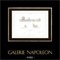 Disegno di Architetto - Cirque d'hiver - Circo d'inverno - Cirque Napoléon (Parigi) - Facciata - Ghisa   Incisione su acciaio originale disegnata da Roguet, incisa da Sellier. 1854