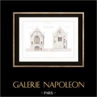 Dessin d'Architecte - Cathédrale Notre-Dame d'Amiens (Somme - France) - Abside | Gravure sur acier originale dessinée par Viollet-Le Duc, gravée par Huguet. 1854