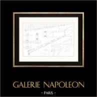 Disegno di Architetto - Cirque d'hiver - Circo d'inverno - Cirque Napoléon (Parigi) - Travi   Incisione su acciaio originale disegnata da Roguet, incisa da Huguet. 1854