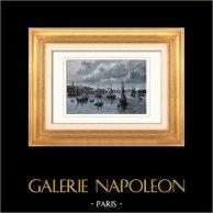 Vista de Nantes (Loire-Atlantique - França) | Gravura em madeira original (xilogravura) desenhada por Taylor, gravada por Laplante. Aquarelada a mão. 1877