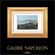 Vue du Port de Nice (Provence-Alpes-Côte d'Azur - France)  | Gravure sur bois originale dessinée par Taylor, gravée par Barbant. Aquarellée à la main. 1877