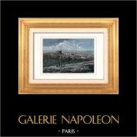 Vue panoramique de Belfort (Territoire de Belfort - France) | Gravure sur bois originale dessinée par Niederhausern-Koechin, gravée par Laplante. Aquarellée à la main. 1877