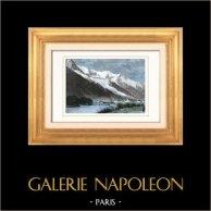 Mont Blanc - Chamonix (Haute-Savoie - France) | Gravure sur bois originale dessinée par Taylor, gravée par Laplante. Aquarellée à la main. 1877