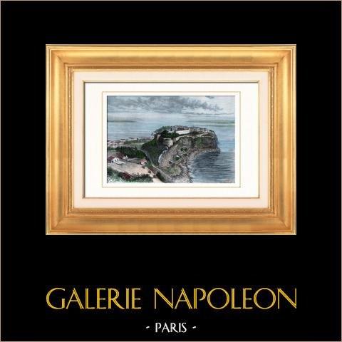 Furstendömet Monaco - Le Rocher - Frankrike - Franska Rivieran - Côte d'Azur - Tête de Chien - Alpes-Maritimes | Original trästick efter teckningar av Taylor, graverade av Barbant. Akvarell handkolorerad. 1877