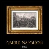 Guardia Nacionale di Parigi - Arruolamento dei Volontari (1792) - La Patria in Pericolo | Incisione su acciaio originale disegnata da Cogniet, incisa da Pourvoyeur. 1853