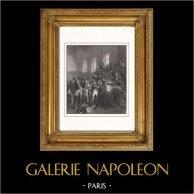 Napoleone Bonaparte - Consiglio dei Cinquecento - Direttorio - Colpo di Stato del 18 Brumaio (1799) | Incisione su acciaio originale disegnata da Bouchot, incisa da Geoffroy. 1853