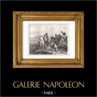 Guerres Napoléoniennes - La Bataille de Wagram - 7 juillet 1809 (Horace Vernet) | Gravure sur acier originale dessinée par Horace Vernet, gravée par Audibran. 1853