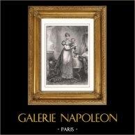 Portrait de l'Impératrice Marie-Louise d'Autriche - Epouse de Napoléon (1791-1847) | Gravure sur acier originale dessinée par Gérard, gravée par Langlois. 1853