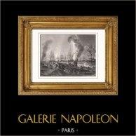 Bataille navale de Navarin (20 octobre 1827) - Empire Ottoman - Guerre d'indépendance grecque (Garneray) | Gravure sur acier originale dessinée par Garneray, gravée par Rouargue. 1853
