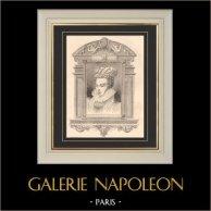 Portrait de Marguerite de Valois - Marguerite de France - Reine Margot (1553-1615) | Gravure sur acier originale dessinée par Bocourt d'après François Clouet, gravée par Gerard. 1870